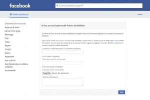facebook disabilitato